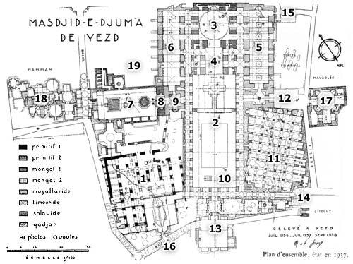 نقشه يا پلان مسجد جامع يزد