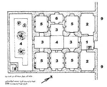 پلان خانه چهار صفه اي